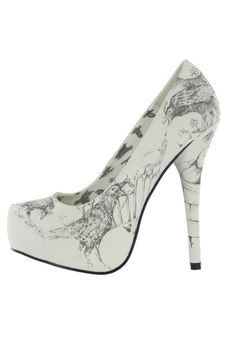 Iron Fist Nevermore Raven Skull Women's Platform Heels - Show your love for #Poe with these raven printed vegan pumps.