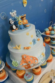 Under the Sea with the Octonauts themed party by Enchanting Parties. Birthday cake featuring Peso Penguin, Capt. Barnacles, Kwazii and Tunip.