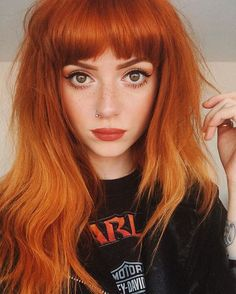 Are you looking for ginger hair color styles? See our collection full of ginger hair color styles and get inspired! Dye My Hair, New Hair, Hair Tie, Hairstyles With Bangs, Pretty Hairstyles, Latest Hairstyles, Black Hairstyles, Red Orange Hair, Pastel Orange Hair
