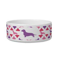 Purple and Pink diamond print Dachshund bowl