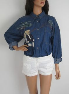 Vintage 1980s Cute Novelty Bear Design Oversized Denim Shirt available to buy online at Virtual Vintage Clothing £25