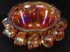 Orange Carnival glass punch bowl