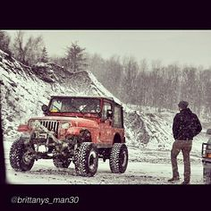 """Great winter Shot by @brittanys_man30 """"Me and my 4cylinder jeep. #jeep #wrangler #yj #lifted #snow #rocks #mud #offroad #4x4"""" #jeepbeef #Padgram"""