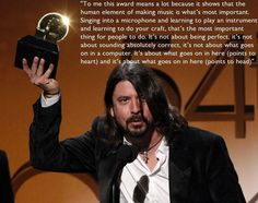 Dave Grohl's acceptance speech at the Grammys.