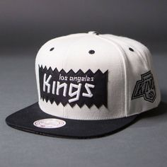 f2a9a487d42 BAIT x NHL x Mitchell And Ness Los Angeles Kings STA3 Wool Snapback Cap  (white   black)