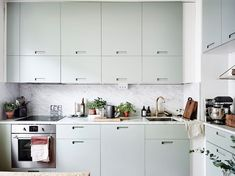 Unusual colours and shapes in kitchen