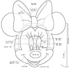 Minnie Mouse Head for Mickey Mouse Puppet Template Minnie Mouse Template, Bolo Da Minnie Mouse, Mickey E Minie, Mickey Minnie Mouse, Minne, Minnie Baby, Cake Templates, Applique Templates, Applique Patterns