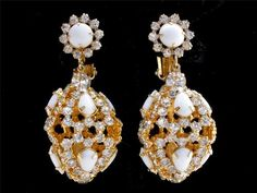 Runway Signed Hattie Carnegie High End Clear Rhinestone Gilded Earrings Vintage | eBay