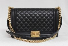 Buya  2015 Chanel Medium Large Le Boy Black Calf Leather Brushed Gold  Hardware Bag in Handbags, Women s Clothing, Clothing, Shoes   Accessories,  MAX PAWN 9ec2367c14