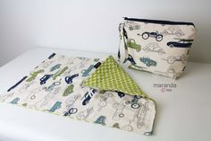 Deluxe Wipee Dipee Bag Set with Changing Mat Pad-Truck and Cars in Navy and Green  READY to SHIP Wipes Zipper Pouch Nappy Bag Clutch by marandalee on Etsy