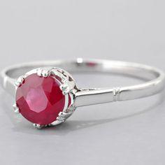 Vintage Platinum 1.28ct Burma Ruby Engagement Ring
