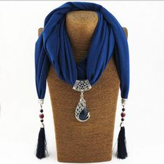 Silk Scarf Necklace Peacock Pendant Neckerchief Scarves Women Printed Silk Muffler 2017 New Designer Scarfs Jewelry Bijoux
