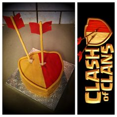 Clash of Clans shield cake complete with fondant arrows :)