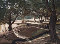 Olive trees in Corfu, Greece. Painting by Ina Gerogianni (oil on canvas)