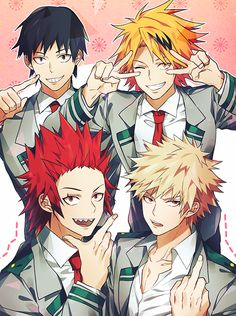 Sero Hanta, Kaminari Denki, Kirishima Eijirou, and Bakugou Katsuki AAAAAAAAAAAHHHHHHHHHHHHHHHHHHH SOMEBODY HELP ME, I'M DYING FROM FANGIRLING!!!!!