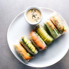 Smoked salmon avocado rolls