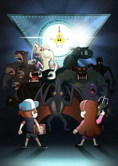 omg i can name so many of these there is dipper, mabel, the volociraptor, bill, lake monster, 7 headed bear, the troll thing (if you look into its eyes you will see your worst nightmare) i forgot the bull thing name, then there is that spider... i forgot the other 2 names