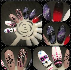 Skull Nail Art, Skull Nails, Rockabilly Nails, Skulls, Shoes, Zapatos, Shoes Outlet, Shoe, Footwear