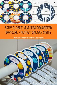 Planet Closet Dividers, Boy girl clothes dividers, Closet Organizers, Galaxy baby closet divider, Baby Shower Gift, Space Nursery, Sun C254 Baby Shower Themes, Baby Shower Decorations, Baby Shower Gifts, Shower Ideas, Nursery Closet Organization, Baby Closet Dividers, Baby Month Stickers, Gifts For New Parents, Baby Nursery Decor