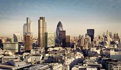 City of London one of the leading centers of global finance and Canary Wharf at the background. City Of London, Skyline Von London, London Hotels, Sky High, Westminster, San Francisco Skyline, Behind The Scenes, Stock Photos, World