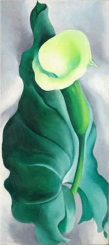 art of Georgia O'Keefe. (This image picks up on the beautiful green color of the stone and the curves of the necklace chain. It's a floral art Lys Calla, Calla Lily, Georgia Okeefe, Alfred Stieglitz, Wisconsin, O Keeffe Paintings, Oil Paintings, Painting Art, New York Art