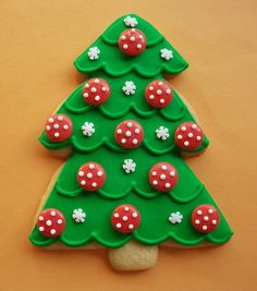 Christmas Tree with Red Polka Dot Ornaments Cookie