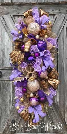 Purple and Gold Christmas Christmas Door Hangings, Christmas Mesh Wreaths, Christmas Swags, Christmas Tree With Gifts, Purple Christmas, Deco Mesh Wreaths, Christmas Crafts, Christmas Decorations, Winter Wreaths
