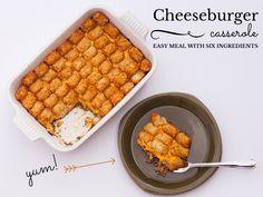 Cheeseburger Casserole #sixingredients #groundbeef #tatortots #recipe #easy  THREE 31 (a blog)  CAST YOUR VOTE TOO!!!