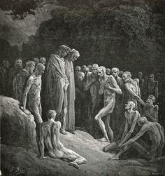 Dante y Virgil among the gluttons. Divine Comedy, 1890.