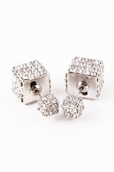 Double-Sided Cube 360 Earrings (Silver) - My Jewel Candy