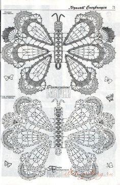 Lots of crochet Butterfly diagrams Filet Crochet, Crochet Diagram, Freeform Crochet, Crochet Chart, Thread Crochet, Crochet Motif, Crochet Hooks, Crochet Butterfly Pattern, Irish Crochet Patterns