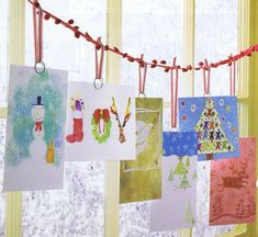 A cute way to display Christmas cards.