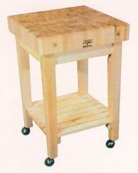 """John Boos Gourmet Block Cart GB by John Boos. $686.00. 24x24x4 w/shelf. Options: Locking Casters. Solid Hard Maple Stands 36 High. Pictured with 4 casters. Solid Hard Maple  24"""" x 24"""" x 4""""  Stands 36"""" High  Option: Casters. Save 30% Off!"""