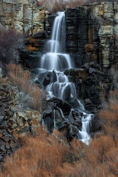 Desert Waterfall - Earlier, I posted this waterfall that is fed by Judith Pool with a more expansive view of the surrounding area. This zoomed view gives a more details in the water.  Thanks for looking!