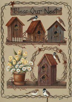 Birdhouse Bench decorative house flag - flagsrus