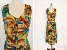 Vintage 1980s Hawaiian Print Dress / Brown and Aqua Blue Floral Print / from ThisBlueBird