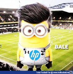 Gareth Bale's Football Minion I love this picture because is funny, is a minion of Bale Football Troll, Football Memes, Ronaldo Soccer Shoes, Real Madrid Soccer, Barcelona Soccer, Fc Barcelona, Tottenham Hotspur Football, Minion Party, Fantasy Comics