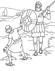 Free coloring pages of david vs. goliath