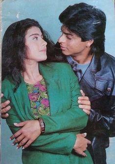 Shahrukh Khan And Kajol, Shah Rukh Khan Movies, Bollywood Couples, Bollywood Actors, Vintage Bollywood, King Of My Heart, Heart Beat, Indian Actresses, My Hero