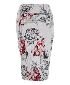 Love this Light Heather Gray Floral Ponte Pencil Skirt - Plus on #zulily! #zulilyfinds