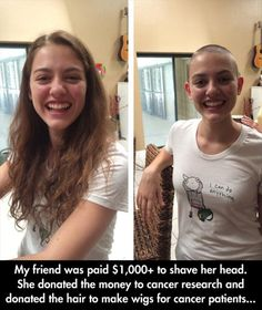 People need to read about this story. Gives me hope that there are still so many good people in this world. I Smile, Make Me Smile, Wigs For Cancer Patients, Shave Her Head, Leadership, Believe, Human Kindness, Gives Me Hope, Cute Stories