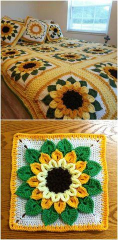 Crochet Motifs, Granny Square Crochet Pattern, Crochet Flower Patterns, Crochet Stitches Patterns, Crochet Squares, Crochet Designs, Crochet Flowers, Crochet Blanket Flower, Christmas Crochet Blanket