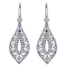 14k White Gold Diamond Drop Earrings | Gabriel & Co NY | EG12575W45JJ