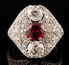 Art Deco platinum, diamonds and ruby ring