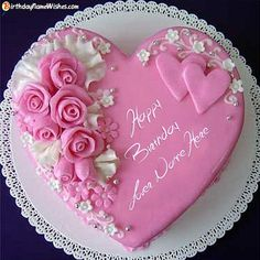 Latest Birthday Cake With Name Editor Photo Online Send Free Create Cards Surprise your love ones by sending these Roses Birthday Cake For Lover Images With Name. Best idea to send happy birthday wishes . Heart Shaped Birthday Cake, Birthday Cake Write Name, Birthday Wishes With Name, Birthday Cake Writing, Happy Birthday Wishes Cake, Happy Birthday Cake Images, Birthday Cake With Photo, Heart Shaped Cakes, Birthday Cake Pictures