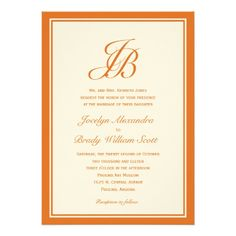 Script Monogram Wedding Invitation (Orange)