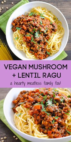 Lentil Ragu with Mushrooms (vegan) - Foxes Love Lemons - This Mushroom and Lentil Ragu is a hearty vegetarian pasta sauce that will leave even the hungriest eaters satisfied. Serve this vegan ragu over your favorite noodles! Veggie Recipes, Whole Food Recipes, Vegetarian Recipes, Dinner Recipes, Cooking Recipes, Healthy Recipes, Veggie Food, Cooking Tips, Vegan Lentil Recipes