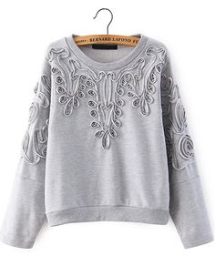 Grey Long Sleeve Disk Flowers Sweatshirt - abaday.com