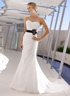 Soft Organza Mermaid Strapless Sweetheart Wedding Dress - Dream dress! except with a champagne or pale pink colored belt/flower thingy.