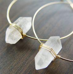 Diamond Gold Hoop Earrings. Herkimer